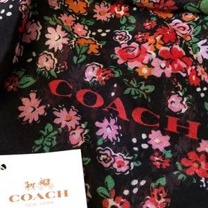 Coach Rose Meadow Floral Oblong Scarf NWT